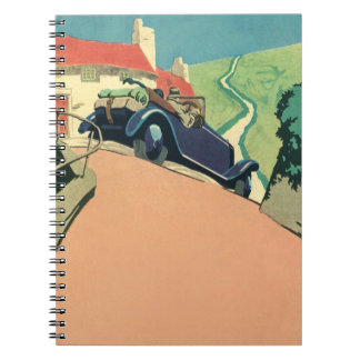 Vintage Convertible Car on a Country Road Spiral Notebook