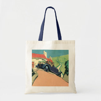 Vintage Convertible Car on a Country Road Tote Bag