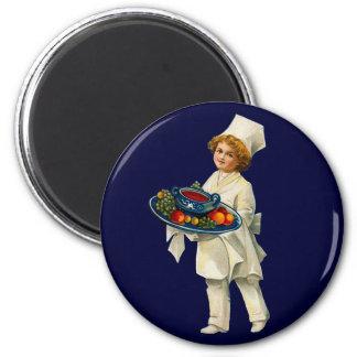 Vintage Cook Round Magnet