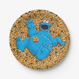 Vintage Cookie Monster And Cookies Paper Plate at Zazzle