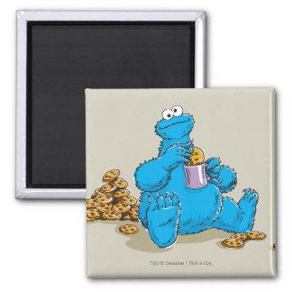Vintage Cookie Monster Eating Cookies 2 Inch Square Magnet