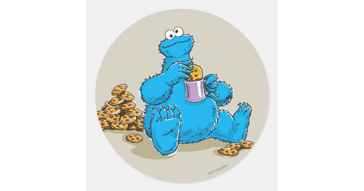 Vintage Cookie Monster Eating Cookies Classic Round ...