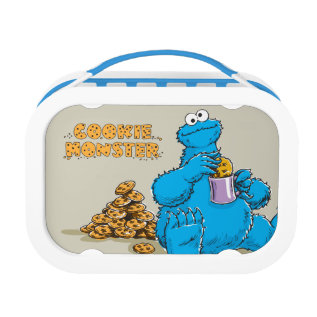 Vintage Cookie Monster Eating Cookies Lunch Box at Zazzle