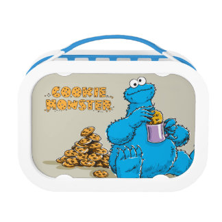 Vintage Cookie Monster Eating Cookies Lunch Box