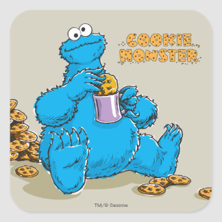 Vintage Cookie Monster Eating Cookies Square Sticker