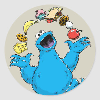 Vintage Cookie Monster Juggling Classic Round Sticker