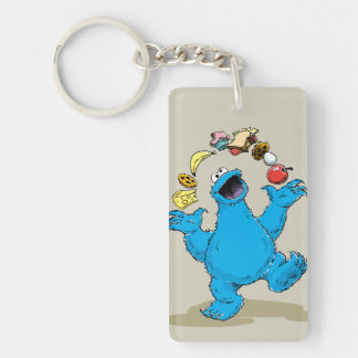 Vintage Cookie Monster Juggling Double-Sided Rectangular Acrylic Keychain