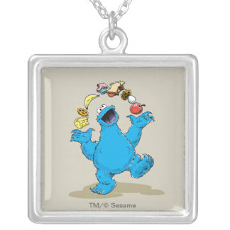 Vintage Cookie Monster Juggling Square Pendant Necklace