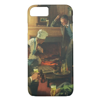 Vintage Cooking Steaks Drinking Beer, Family Party iPhone 8/7 Case