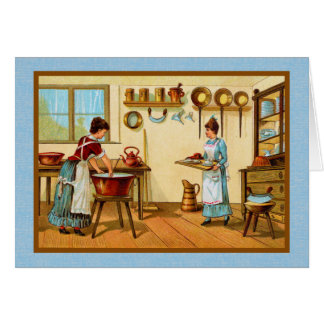 Vintage Cooks in the Kitchen Greeting Card