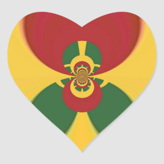 Vintage COOL CUTE RETRO Jamaicans Raster Gift Colo Heart Sticker