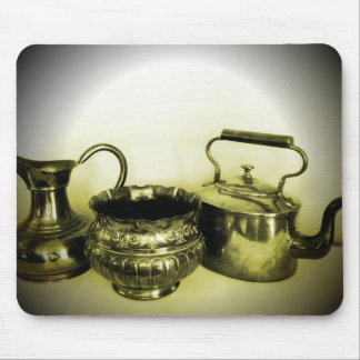 Vintage Copper and Brass Tea Pots Mousepad