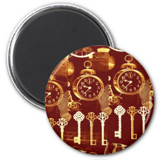 Vintage Copper Floating Foundry Steampunk Dream 2 Inch Round Magnet