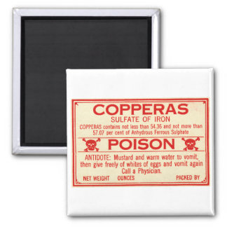 Vintage Copperas Sulphate of Iron Poison Label Fridge Magnets
