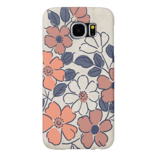 Vintage Coral and Navy Floral Pattern Samsung Galaxy S6 Cases