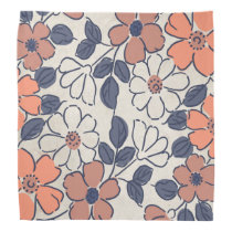Vintage Coral and Navy Floral Wedding Bandana