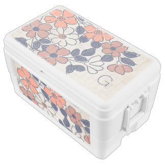 Vintage Coral and Navy Floral Wedding Chest Cooler