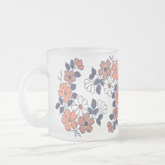 Vintage Coral and Navy Floral Wedding Frosted Glass Coffee Mug
