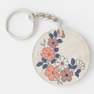 Vintage Coral and Navy Floral Wedding Keychain