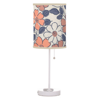 Vintage Coral and Navy Floral Wedding Lamp