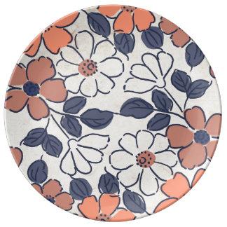 Vintage Coral and Navy Floral Wedding Porcelain Plates