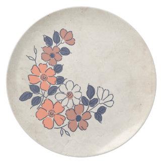 Vintage Coral and Navy Floral Wedding Melamine Plate