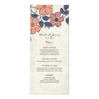 Vintage Coral and Navy Floral Wedding Menu 4x9.25 Paper Invitation Card