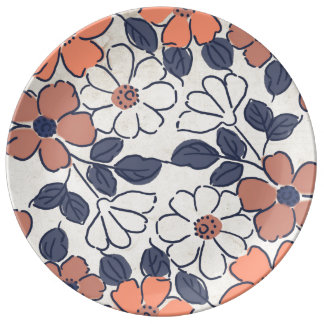 Vintage Coral and Navy Floral Wedding Plate