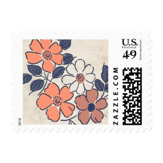 Vintage Coral and Navy Floral Wedding Postage