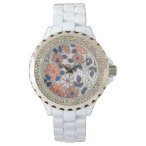 Vintage coral and Navy Floral Wedding Watch