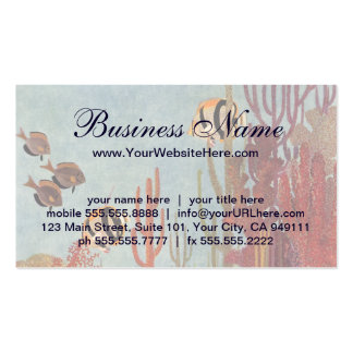 Vintage Coral and Tropical Angelfish Fish in Ocean Business Card