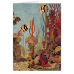 Vintage Coral and Tropical Angelfish Fish in Ocean Card