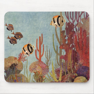 Vintage Coral and Tropical Angelfish Fish in Ocean Mouse Pad