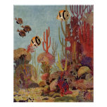 Vintage Coral and Tropical Angelfish Fish in Ocean Poster
