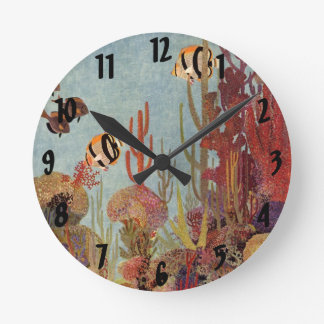 Vintage Coral and Tropical Angelfish Fish in Ocean Round Clock