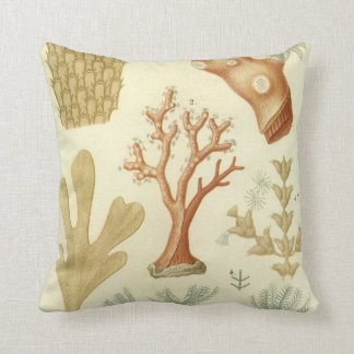 Vintage Coral Animals, Science Textbook Biology Throw Pillow
