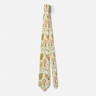 Vintage Coral Animals, Science Textbook Biology Tie
