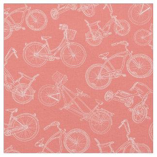 Vintage Coral Bicycle Pattern Fabric
