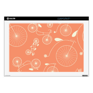 "Vintage Coral Day in the Park Bicycle 17"" Laptop Skin"