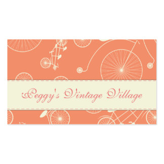 Vintage Coral Day in the Park Bicycle Business Card