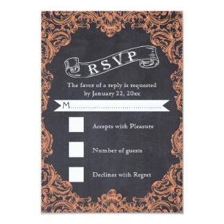Vintage coral frame and chalkboard wedding RSVP Card