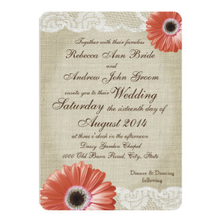 Vintage Coral Gerbera Daisy and Lace Wedding 5x7 Paper Invitation Card
