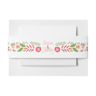 Vintage coral peach floral border modern wedding invitation belly band