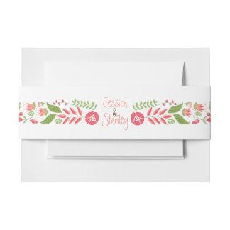 Vintage coral peach floral border modern wedding invitation belly band