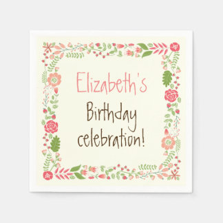 Vintage coral pink floral border birthday party napkin