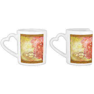 Vintage Coral Pink Rose Handwriting Ornate Frame Coffee Mug Set