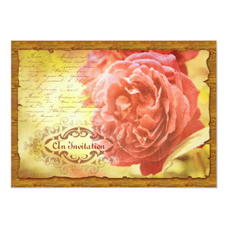 Vintage Coral Pink Rose Handwritting Ornate Frame Card