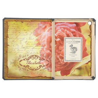 Vintage Coral Pink Rose Handwritting Ornate Frame Cover For iPad Air