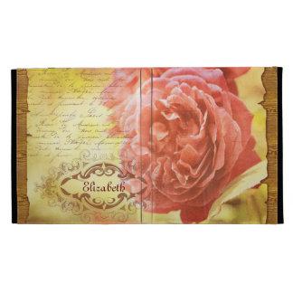 Vintage Coral Pink Rose Handwritting Ornate Frame iPad Folio Cover