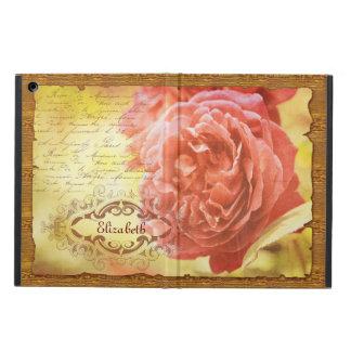 Vintage Coral Pink Rose Handwritting Ornate Frame iPad Air Cover